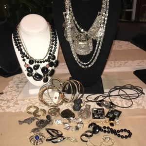28 PC black & silver jewelry lot